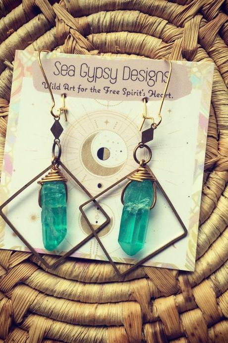 Tropical || Aura Quartz Earrings || Choose your Gem Stone! || Boho babe || Geometry || Gypsy || Turquoise || Rainbow || Goddess || Local ||