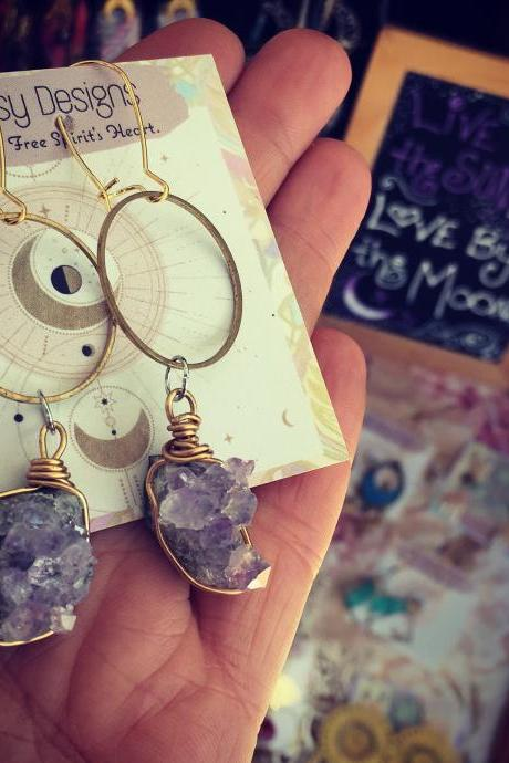 Amethyst Dreams Earrings || Brass || Babe || Show Stoppers || Gems || Earth Child || Summer babe || Circle || Hoops