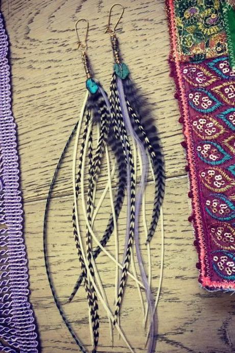 Indigo Child || Turquoise Feather Earrings || Long Feathers || Tribal Babe || Hippie || Gypsea || Goddess Wears || Love || Queen || Mermaid
