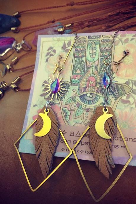 Goddess of Truth || Bohemian Brass Earrings || Hippie || Free Spirit || wild child || Sunshine