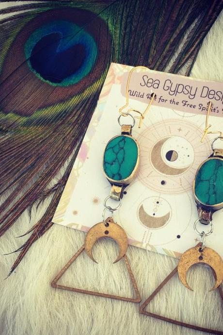 Turquoise Goddess Earrings || Free Spirit || Nature || Sing || Dance || love || Boho Beautiful Earrings